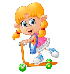 Cartoon girl playing scooter vector