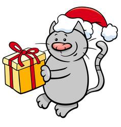 Cat with christmas present cartoon vector