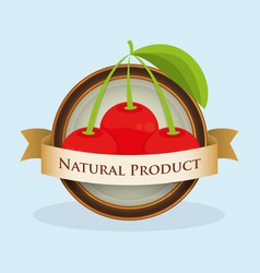 Cherry natural product label vector
