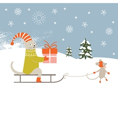 Christmas card and New Years card vector image vector image