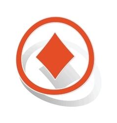 Diamonds sign sticker orange vector