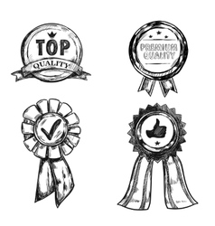 Drawing Quality Medal Emblem Set vector image vector image