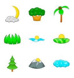 Earth flora icons set cartoon style vector