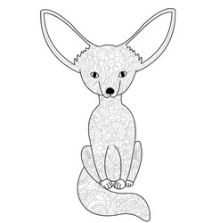 Fennec fox coloring book for adults vector