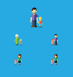 flat icon relatives set of grandma daugther son vector image vector image