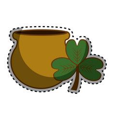 Flowerpot with clover plant design vector