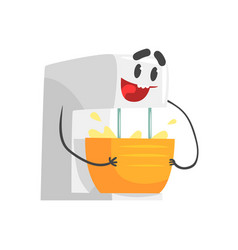 Funny kitchen mixer bowl character with smiling vector