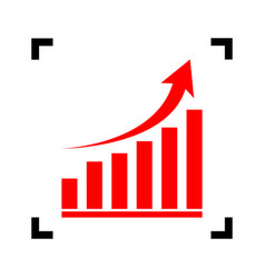 growing graph sign red icon inside black vector image vector image
