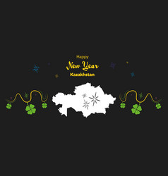 Happy new year theme with map of kazakhstan vector