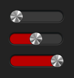Interface slider red bar with round metal button vector