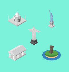 Isometric cities set of chile new york rio and vector