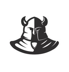 Knight in hornd helmet isolated on white vector