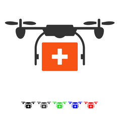 Medical drone shipment flat icon vector