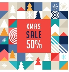 Merry christmas geometric background sale poster vector