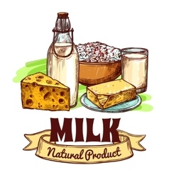 Milk product sketch concept vector