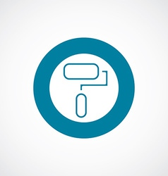 Paint roller icon bold blue circle border vector