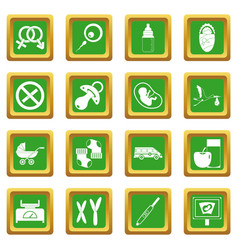 Pregnancy symbols icons set green vector