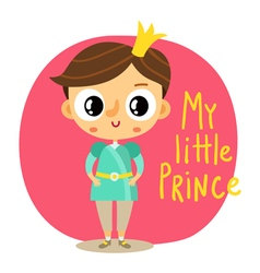 Prince little boy cartoon character on pink vector