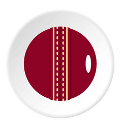 Red leather cricket ball icon circle vector