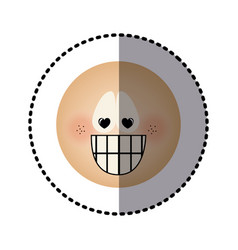 Sticker human face emoticon crazy in love vector