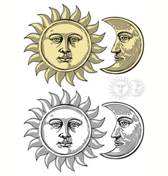 Sun and moon with faces vector
