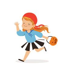 sweet little girl in halloween costume running vector image vector image