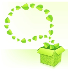Text bubble from foliage with green box of leaves vector image