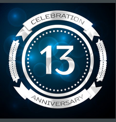 thirteen years anniversary celebration with silver vector image vector image