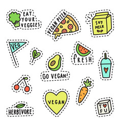 vegan pins stickers vector image vector image