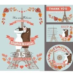Wedding invitationAutumn leavesEiffel tower vector image vector image