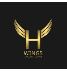 Wings h letter logo vector