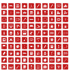 100 stationery icons set grunge red vector
