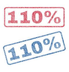 110 percent textile stamps vector