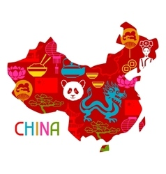 China map design Chinese symbols and objects vector image
