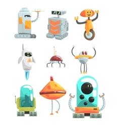 Different design public service robots set of vector