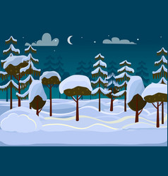 Forest evening different trees covered with snow vector