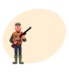 Funny hunter in hunting vest and rubber boots vector