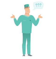 caucasian confused doctor with spread arms vector image