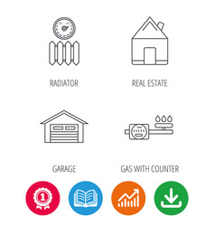 real estate garage and heat radiator icons vector image