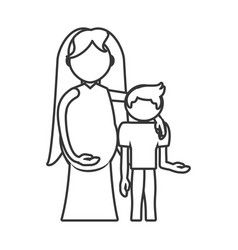 Mother pregnant and son hugging outline vector