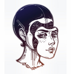 robot or cyborg girl portrait vector image