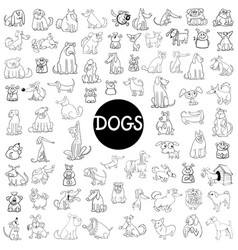 dog characters large set vector image