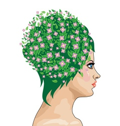 Girl with green hair and flowers vector