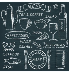 Chalkboard menu elements set 2 vector image