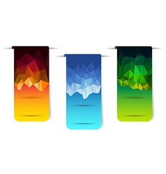 Sticker banner with polygonal element vector