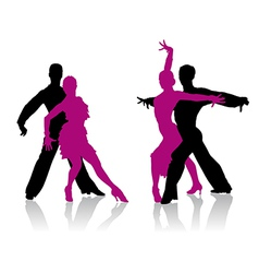 Ballroom dancers silhouettes vector