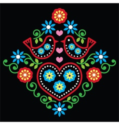 Folk art floral pattern on black vector