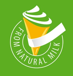 Logo ice cream made of natural milk vector