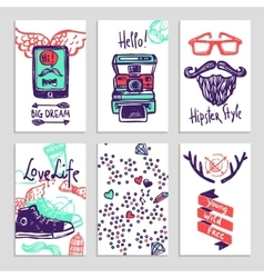 Hipster Sketch Banner Set vector image
