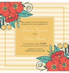 Wedding card with red flowers vector